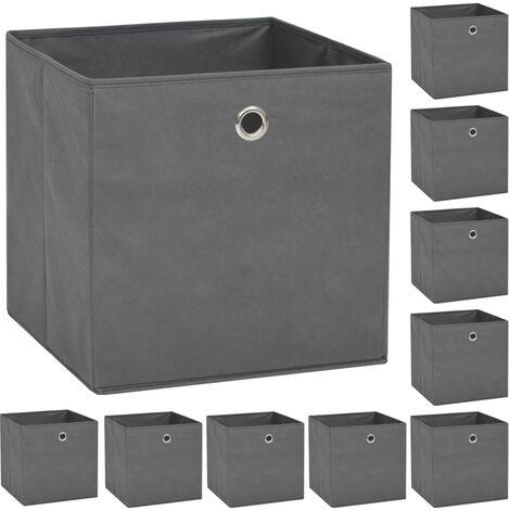 Storage Boxes 10 pcs Non-woven Fabric 32x32x32 cm Grey