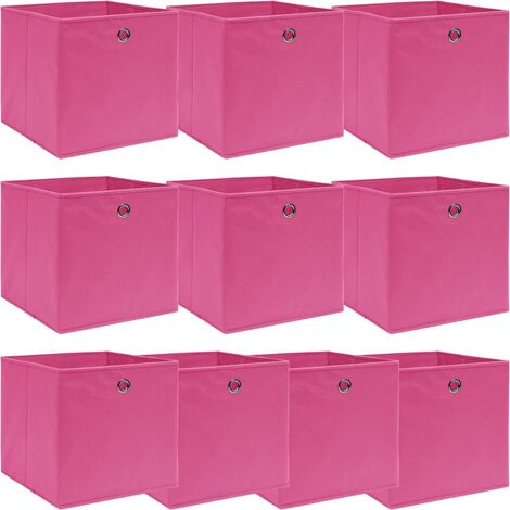 Storage Boxes 10 pcs Pink 32x32x32 cm Fabric - Pink
