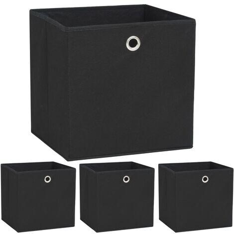 Storage Boxes 4 pcs Non-woven Fabric 32x32x32 cm Black