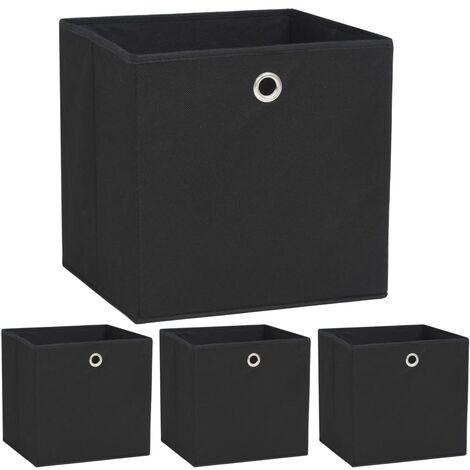 Storage Boxes 4 pcs Non-woven Fabric 32x32x32 cm Black - Black