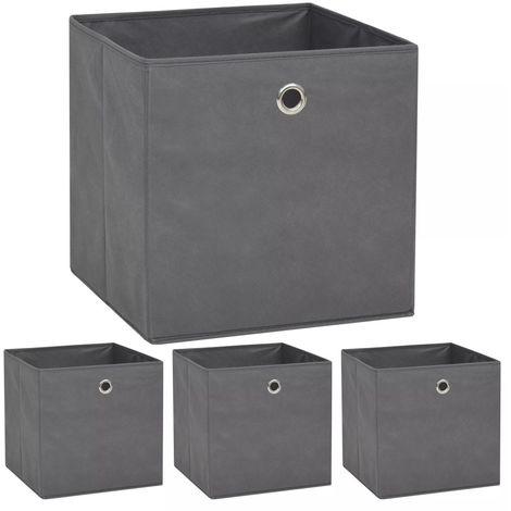 Storage Boxes 4 pcs Non-woven Fabric 32x32x32 cm Grey