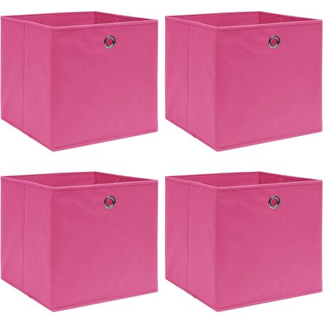 Storage Boxes 4 pcs Pink 32x32x32 cm Fabric