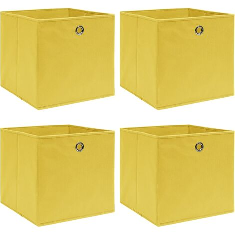 Storage Boxes 4 pcs Yellow 32x32x32 cm Fabric - Yellow