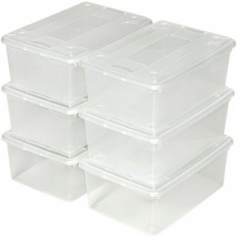 Storage boxes 6-piece set 33x23x12cm - plastic storage box, storage box with lid, storage container - transparent