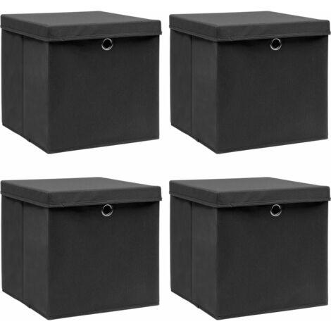 Storage Boxes with Lid 4 pcs Black 32x32x32 cm Fabric