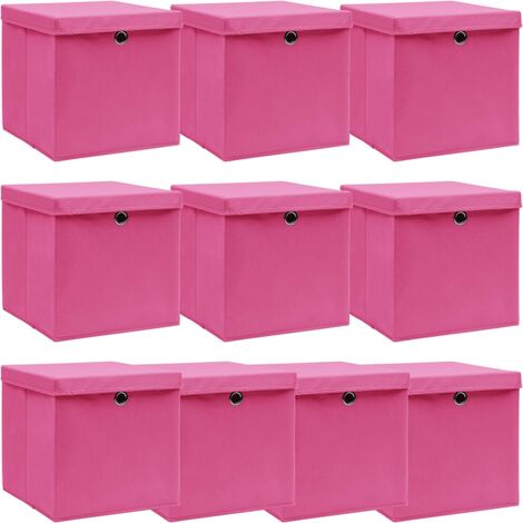 Storage Boxes with Lids 10 pcs Pink 32x32x32 cm Fabric - Pink
