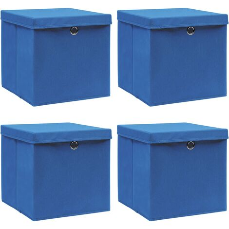 Storage Boxes with Lids 4 pcs Blue 32x32x32 cm Fabric