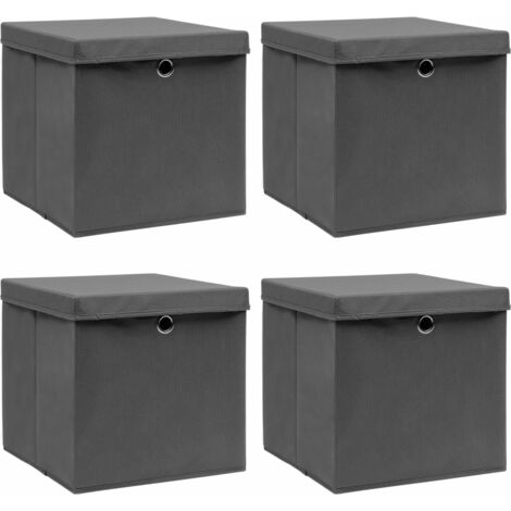 Storage Boxes with Lids 4 pcs Grey 32x32x32 cm Fabric - Grey