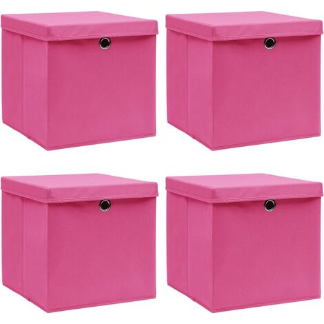 Storage Boxes with Lids 4 pcs Pink 32x32x32 cm Fabric - Pink