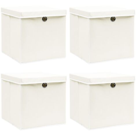 Storage Boxes with Lids 4 pcs White 32x32x32 cm Fabric