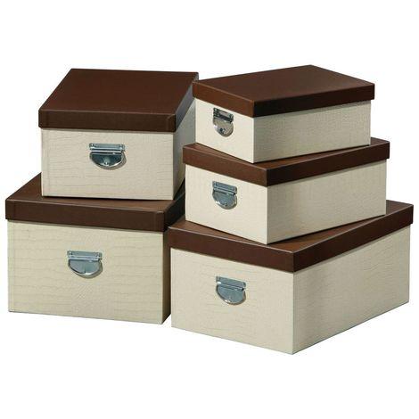 Storage boxes,set of 5,cream crocodile effect