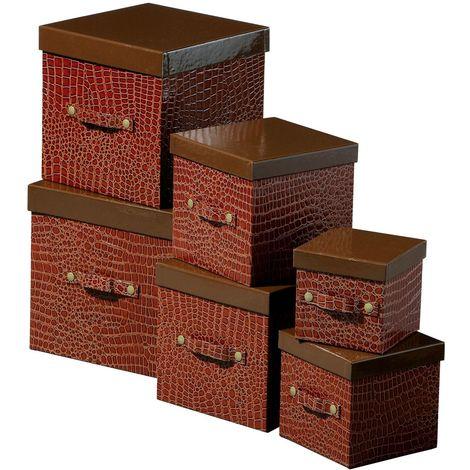 Storage boxes,set of 6,crocodile effect