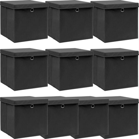 Storage Boxewith Lid 10 pcBlack 32x32x32 cm Fabric