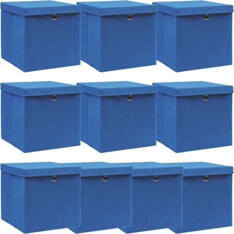 Storage Boxewith Lid10 pcBlue 32x32x32 cm Fabric