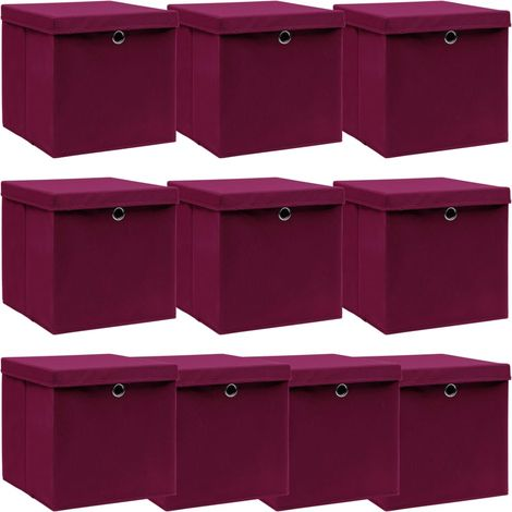 Storage Boxewith Lid10 pcDark Red 32x32x32 cm Fabric