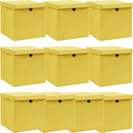Storage Boxewith Lid10 pcYellow 32x32x32 cm Fabric