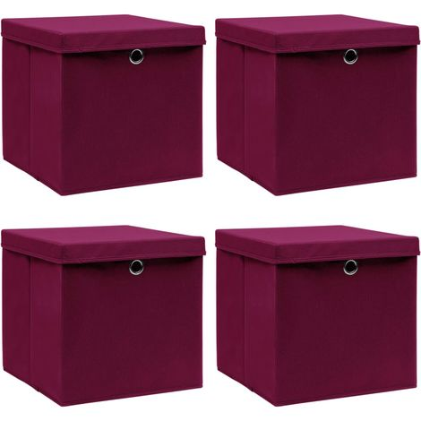 Storage Boxewith Lid4 pcDark Red 32x32x32 cm Fabric