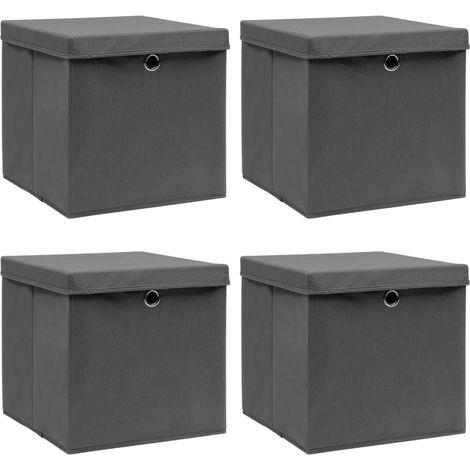 Storage Boxewith Lid4 pcGrey 32x32x32 cm Fabric