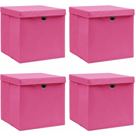 Storage Boxewith Lid4 pcPink 32x32x32 cm Fabric