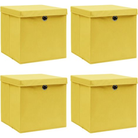 Storage Boxewith Lid4 pcYellow 32x32x32 cm Fabric
