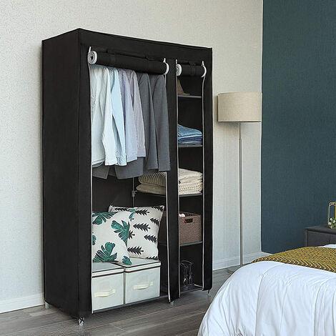 Storage Cabinet 172 * 105 * 43cm Black Foldable Non-woven Clothes Wardrobe