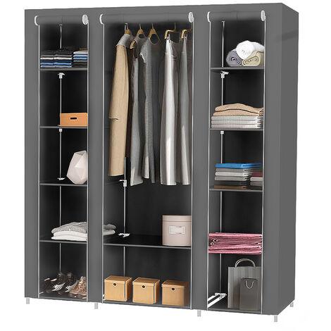 Storage Cabinet 172 * 134 * 43cm Gray Dressing Closet Wardrobe in Non-woven Fabric XXL