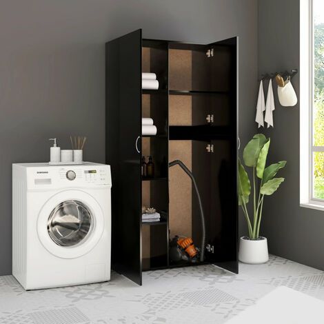 Storage Cabinet Black 80x35.5x180 cm Chipboard