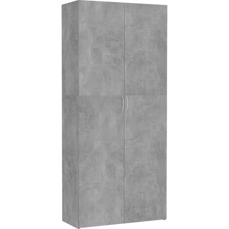 Storage Cabinet Concrete Grey 80x35.5x180 cm Chipboard