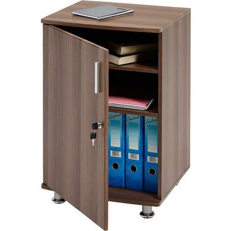 Storage Cabinet Cupboard and Desktop Extension to in Dark Walnut Match Range of Piranha Home Office Furniture - Bowfin PC 4w - Dark Walnut