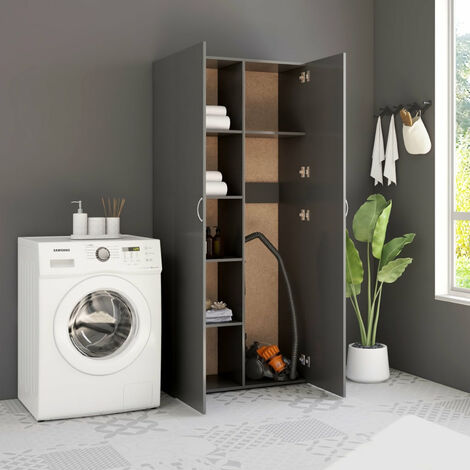 Storage Cabinet Grey 80x35.5x180 cm Chipboard