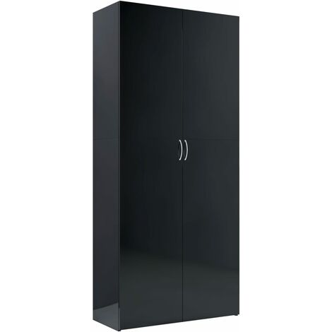 Storage Cabinet High Gloss Black 80x35.5x180 cm Chipboard