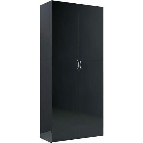 Storage Cabinet High Gloss Black 80x35.5x180 cm Chipboard - Black