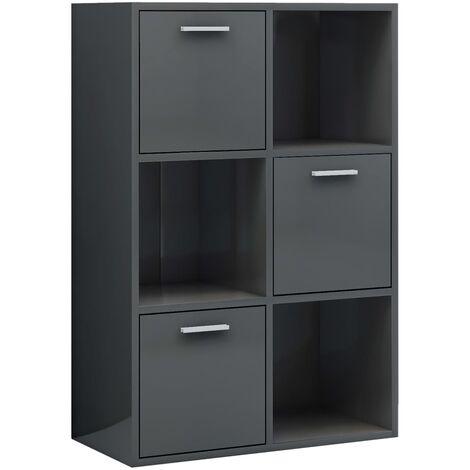Storage Cabinet High Gloss Grey 60x29.5x90 cm Chipboard