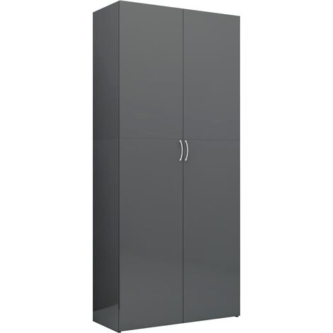 Storage Cabinet High Gloss Grey 80x35.5x180 cm Chipboard