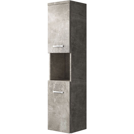 Storage cabinet Montreal 131cm height beton - Storage cabinet tall cupboard bathroom furniture