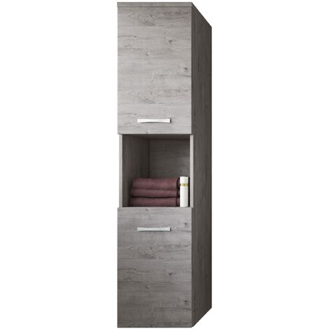 Storage cabinet Montreal 131cm height Grey - Storage cabinet tall cupboard bathroom furniture