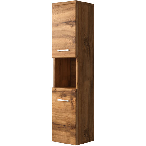 Storage cabinet Montreal 131cm height Wotan (brown) - Storage cabinet tall cupboard bathroom furniture