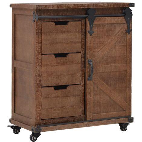 Storage Cabinet Solid Fir Wood 64x33.5x75 cm Brown