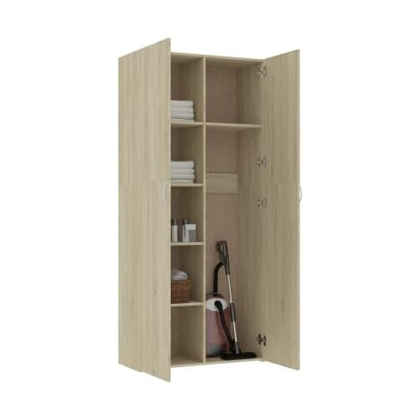 Storage Cabinet Sonoma Oak 80x35.5x180 cm Chipboard