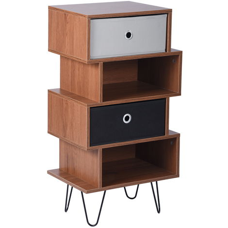 Storage cabinet Space saving Storage rack Heavy wooden frame Multi-purpose bedroom drawer for home office with two fabric drawers, four floors