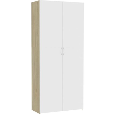Storage Cabinet White and Sonoma Oak 80x35.5x180 cm Chipboard
