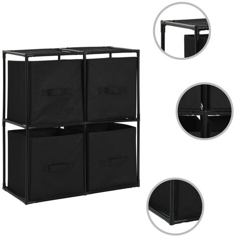 Storage Cabinet with 4 Fabric Baskets Black 63x30x71 cm Steel