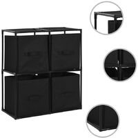 Storage Cabinet with 4 Fabric Baskets Black 63x30x71 cm Steel