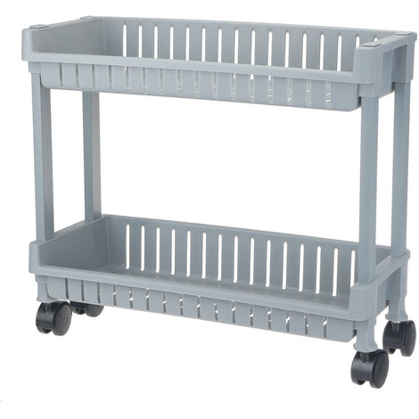 Storage Cart on Wheels for Bathroom Kitchen Office Library 2 Levels