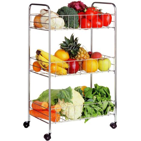 Storage Cart,3 Tier,Chrome