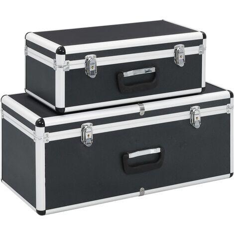 Storage Cases 2 pcs Black Aluminium