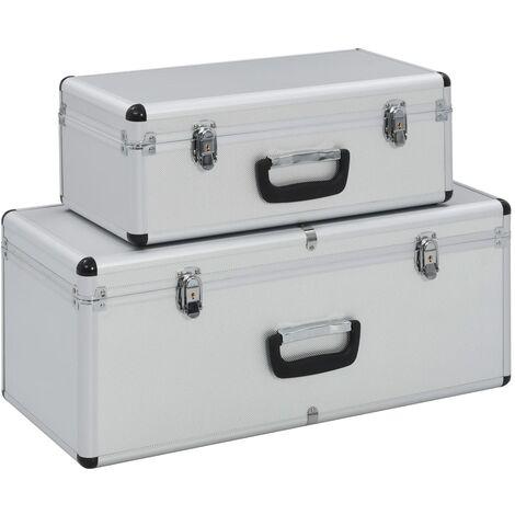 Storage Cases 2 pcs Silver Aluminium