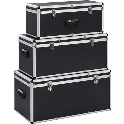 Storage Cases 3 pcs Black Aluminium