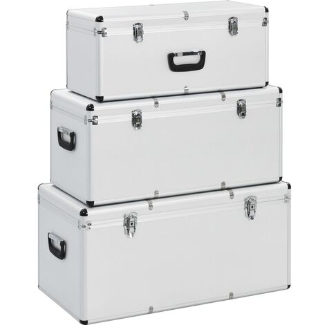 Storage Cases 3 pcs Silver Aluminium