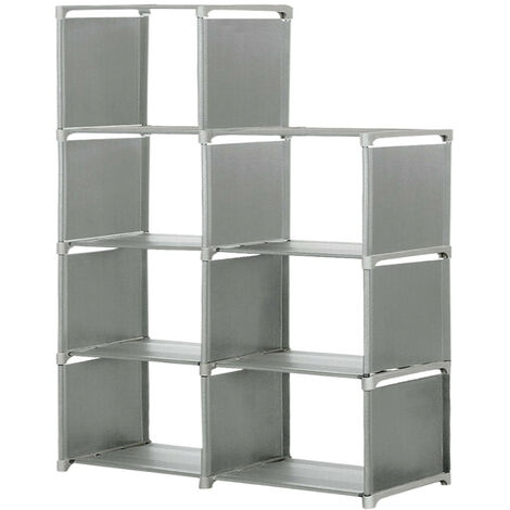 Storage Cube 5-Tier Closet Organizer Shelf 8 Grid Cabinet Bookcase 125*80*30cm Grey